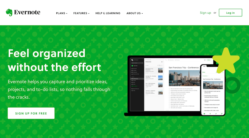 Evernote call-to-action