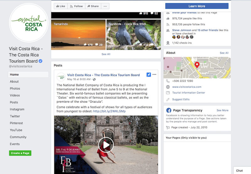 Facebook page examples Costa Rica Tourism Board