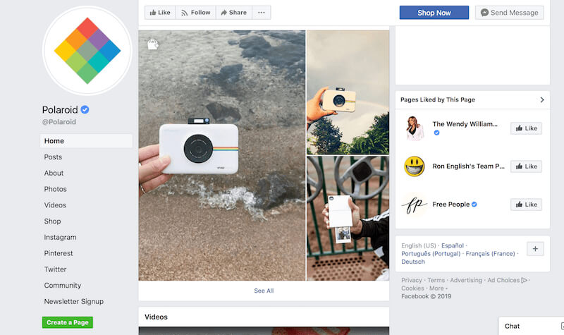 Facebook page examples Polaroid