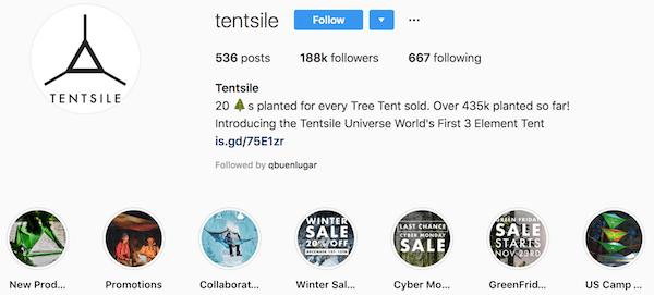 Instagram bio examples tentsile