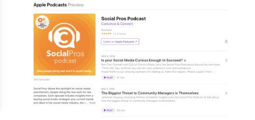 Best Social Media Podcasts: SocialPros