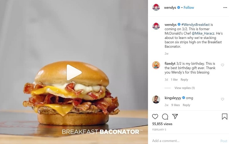 When to Post on Instagram to Gain Likes - Wendy's