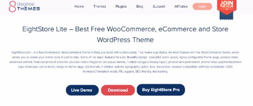 Best WordPress eCommerce Themes: EightStore Lite