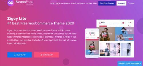 Best WordPress eCommerce Themes: Zigcy Lite