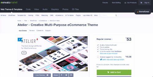 Best WordPress eCommerce Themes: Atelier