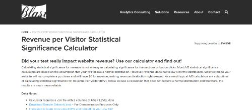 Blast's Revenue per Visitor Statistical Significance Calculator