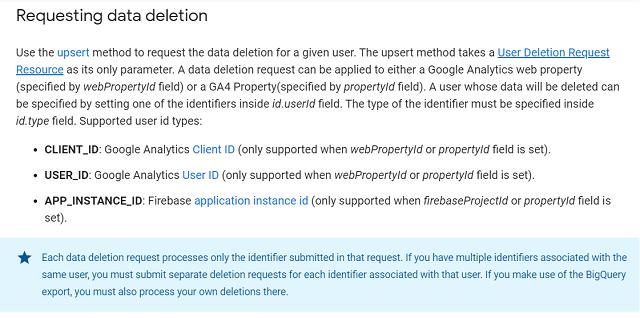 Data deletion in Google Analytics