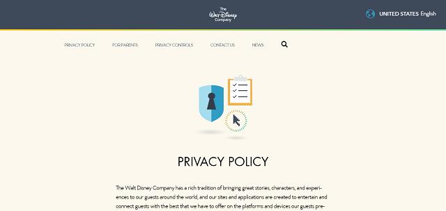 The Walt Disney Company privacy policy