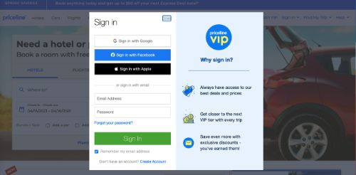 Provide An Easy Method For Site Sign-In (Priceline)