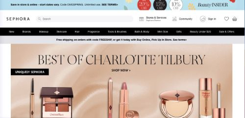 Use a Header Popup That Blends In With Your Landing Page (Sephora)