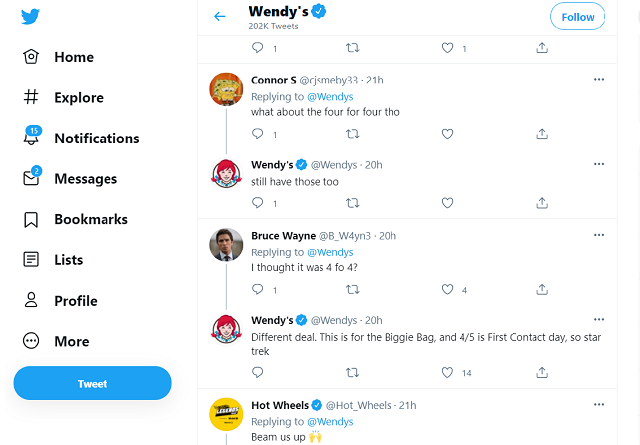 Wendy's Twitter support