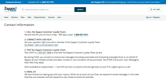Zappos contact options
