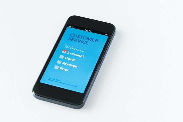 Customer service survey question presented on mobile device
