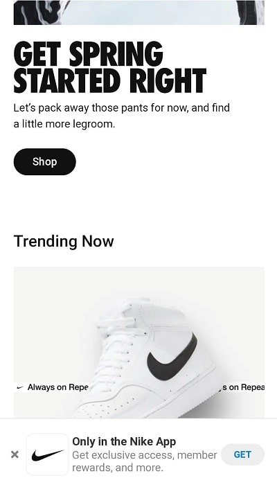 Nike mobile popup