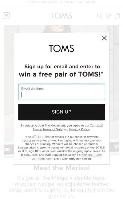 TOMS mobile popup
