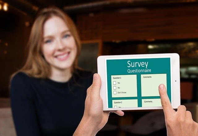 Testing a survey with a target audience member using a mobile tablet device
