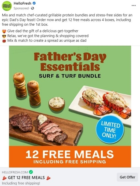 HelloFresh Facebook Father's Day ad