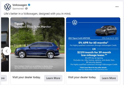 Volkswagen ad copy example