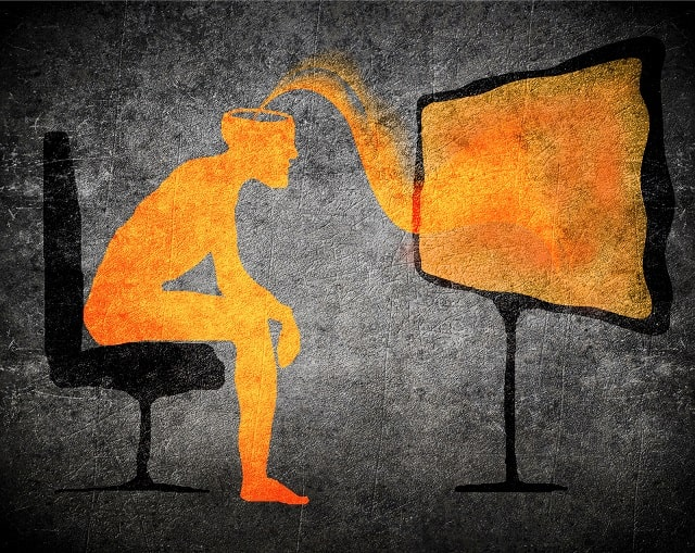 Graphic depicting a person watching television absorbing subliminal messaging