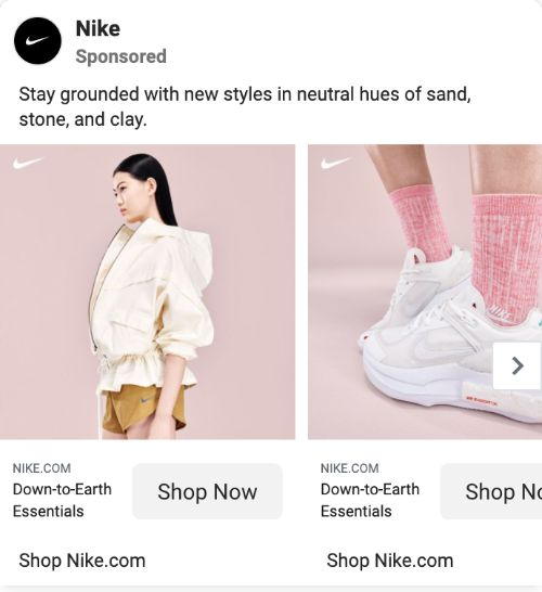 Nike call to action example
