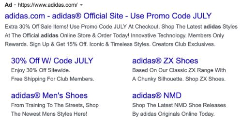 Adidas call to action example