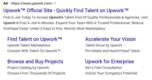 Upwork call to action example