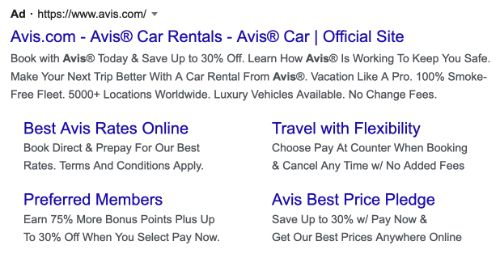 Avis call to action example