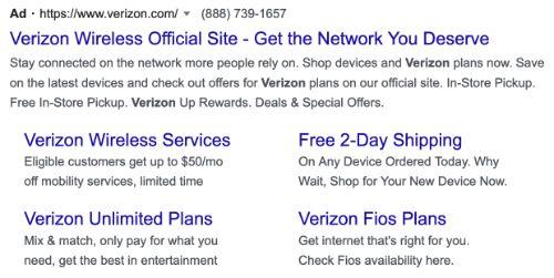 Verizon call to action example