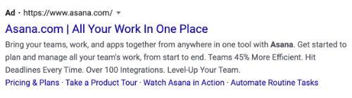Asana call to action example