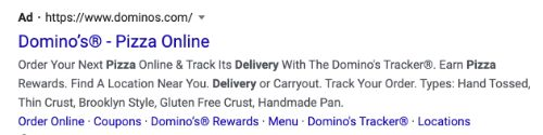 Domino's Pizza call to action example