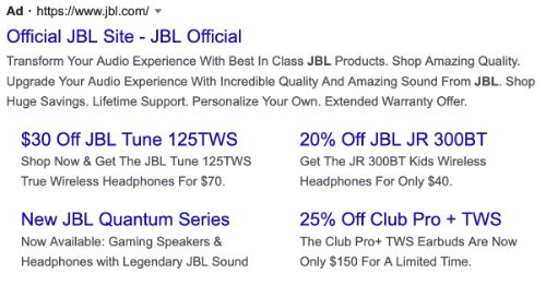 JBL call to action example