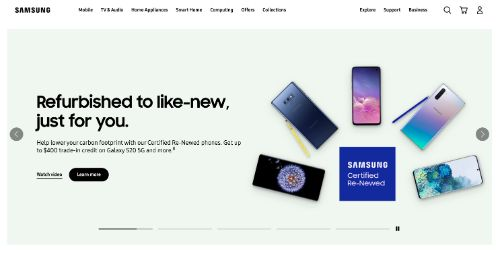Samsung call to action example