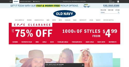 Old Navy call to action example