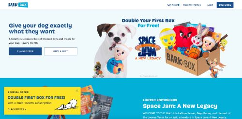 BarkBox call to action example