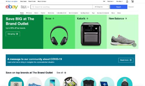 Ebay call to action example