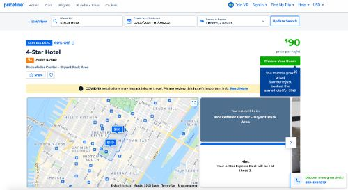 Priceline call to action example