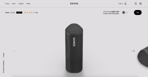 Sonos call to action example