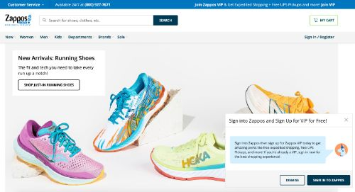 Zappos call to action example
